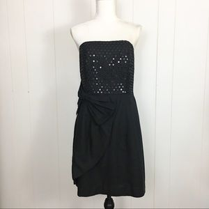 Lilly Pulitzer black strapless sequined dress lbd